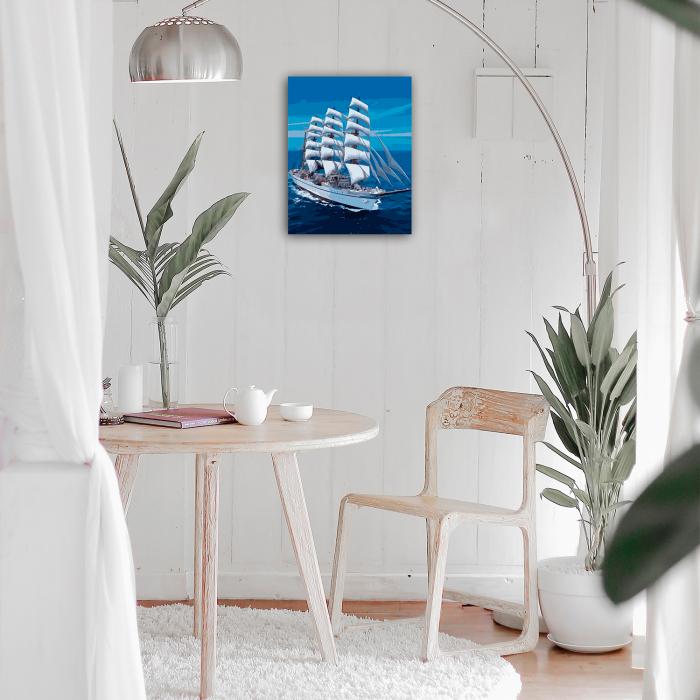 Set pictura pe numere, cu sasiu, Snow-white Sailboat, 40x50 cm 2