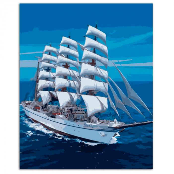 Set pictura pe numere, cu sasiu, Snow-white Sailboat, 40x50 cm 1