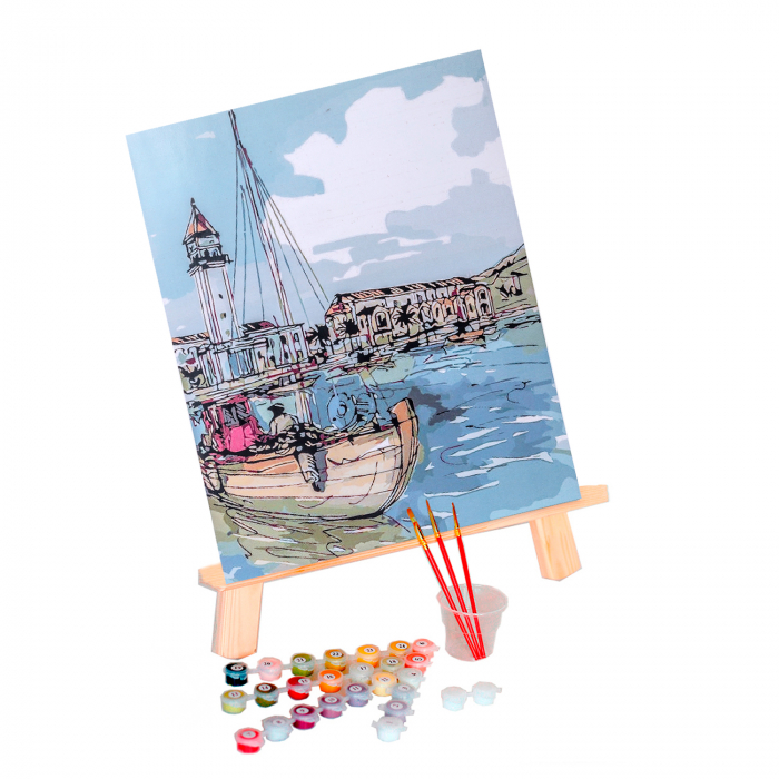 Pictura pe numere, cu sasiu, Oras de coasta, 40x50 cm [1]
