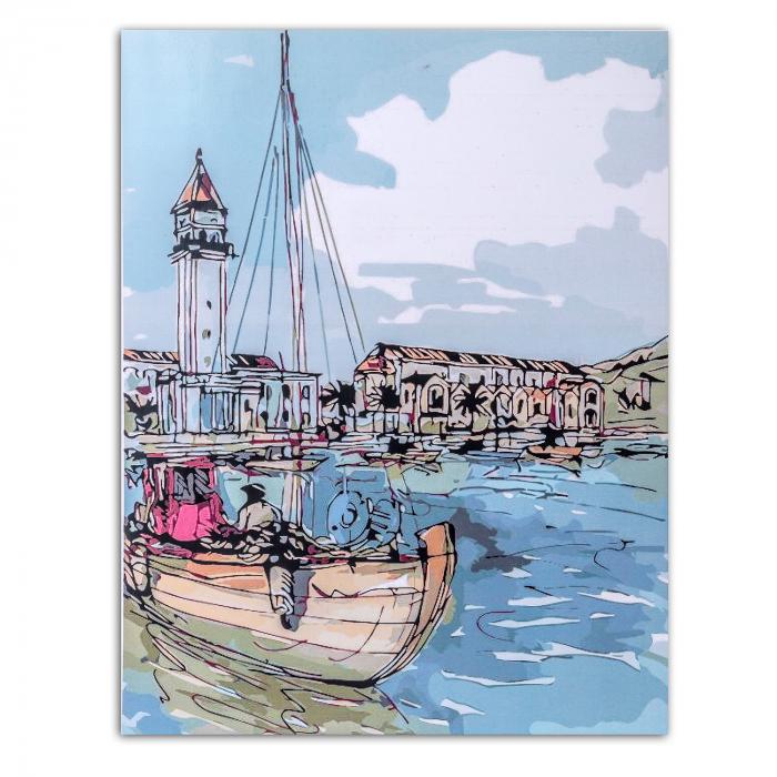 Pictura pe numere, cu sasiu, Oras de coasta, 40x50 cm 0