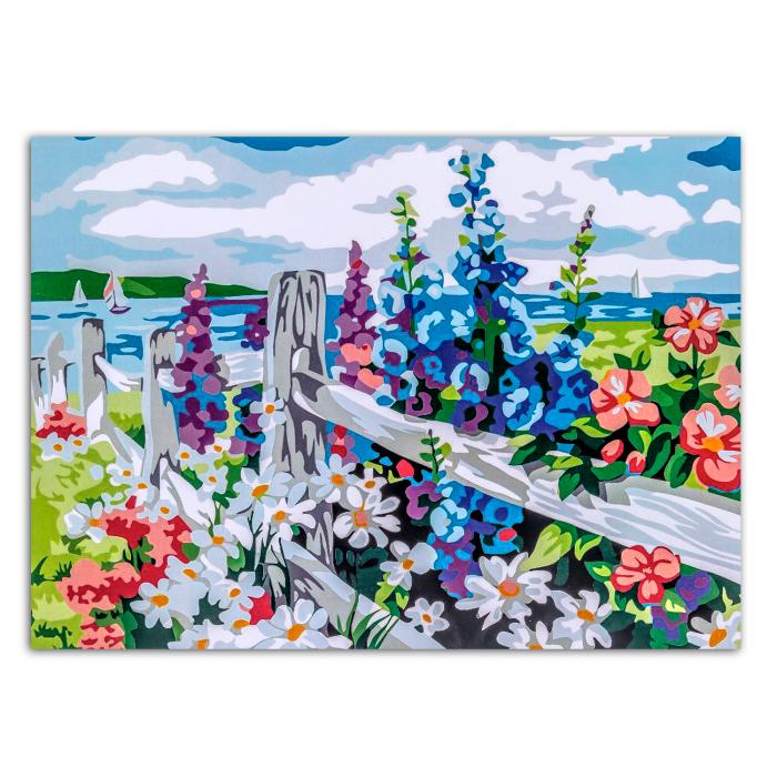 Set pictura pe numere, cu sasiu, Village Outskirts, 30x40 cm 1