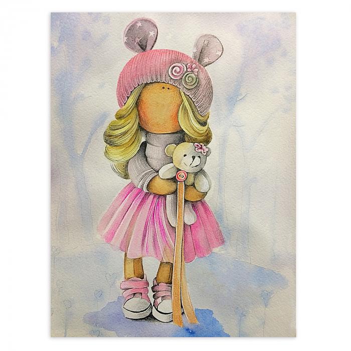 Set pictura pe numere, cu sasiu, Papusa Olivia, 30x40 cm 0