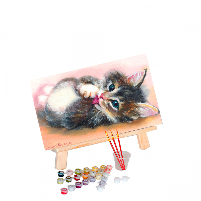 Set pictura pe numere, cu sasiu, Cute kitten, 40x50 cm 0