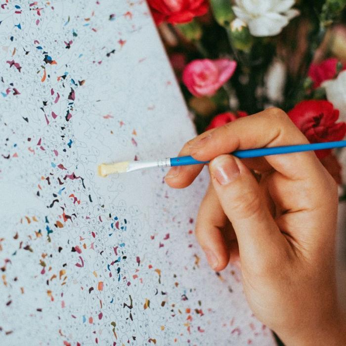 Set pictura pe numere, cu sasiu, Fata cu flori 1