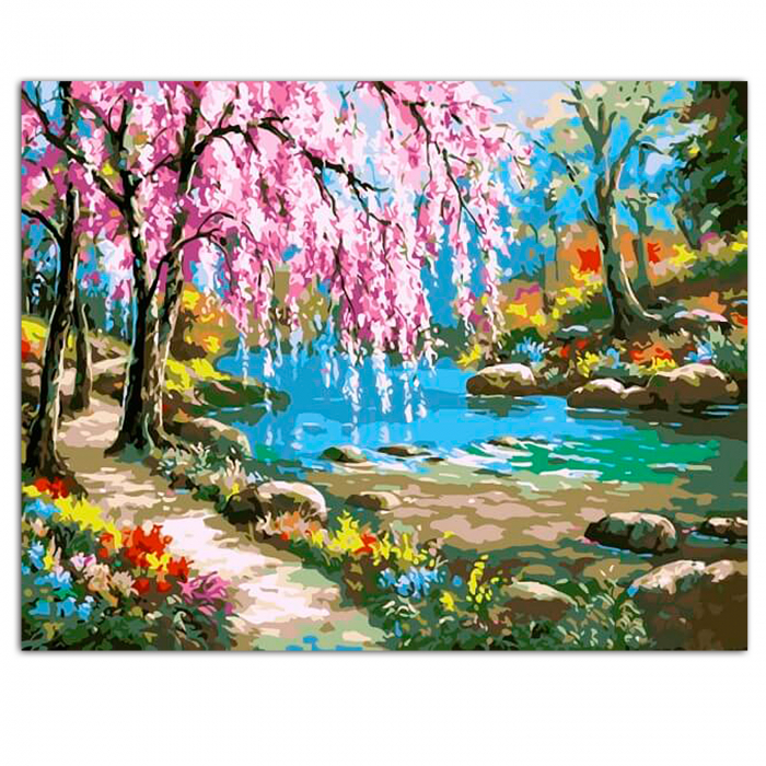 Set pictura pe numere, cu sasiu, Sakura by the river, 40x50 cm 1