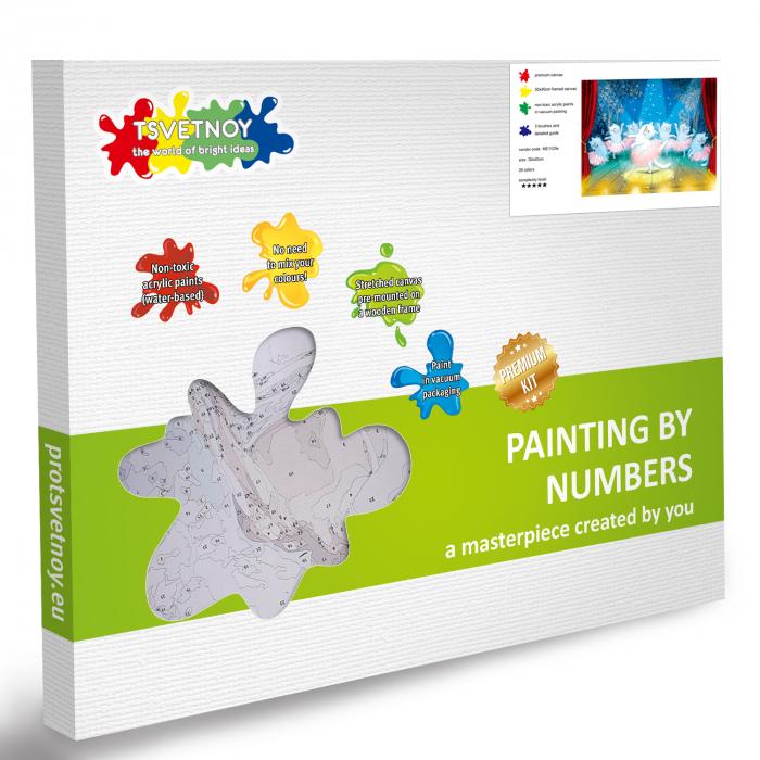 Set pictura pe numere, cu sasiu, Pisici - balerine [6]