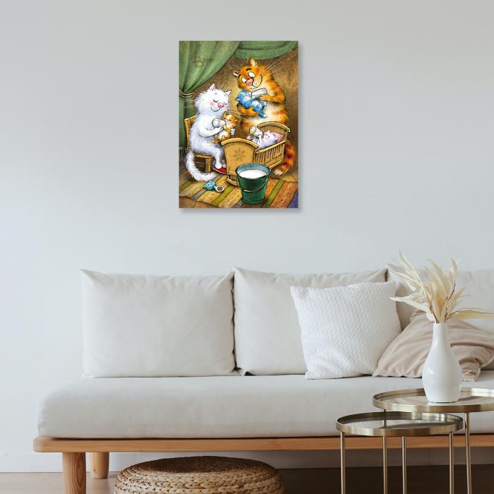 Set pictura pe numere, cu sasiu, Pisici - Familia Fericita, 30x40 cm [1]