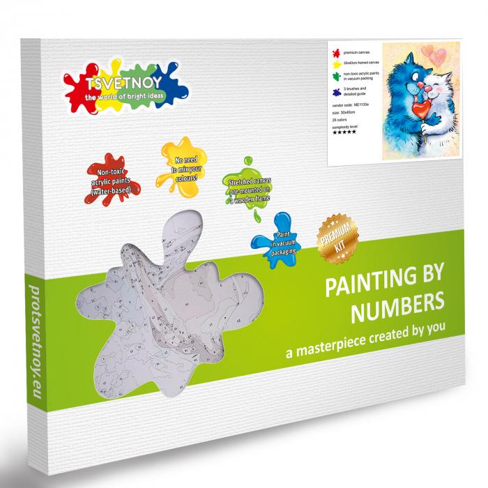 Set pictura pe numere, cu sasiu, Pisici - Fericire Impartasita! [5]