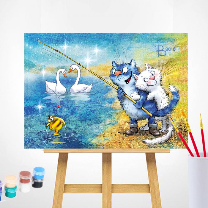 Set pictura pe numere, cu sasiu, Pisici - la pescuit 30x40 cm [1]