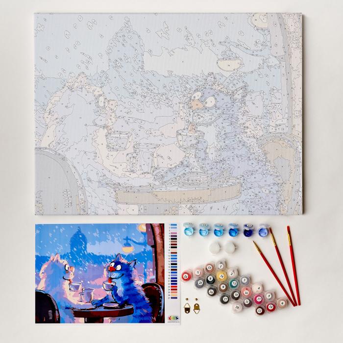 Set pictura pe numere, cu sasiu, Pisici - Rendezvous 30x40 cm [2]