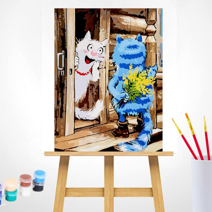 Set pictura pe numere, cu sasiu, Pisici - Surpriza [2]