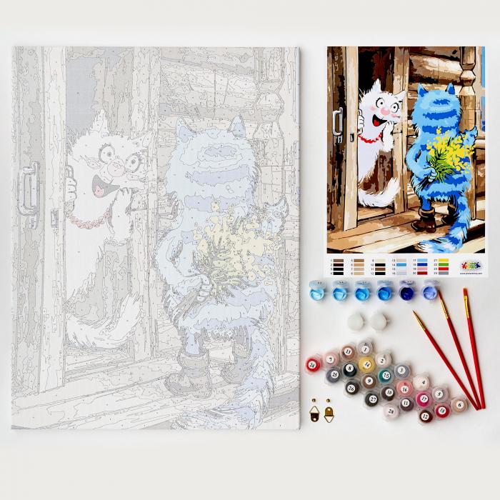 Set pictura pe numere, cu sasiu, Pisici - Surpriza [1]
