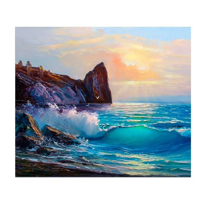 Set pictura pe numere, cu sasiu, Peisaj de coasta, 40x50 cm 0