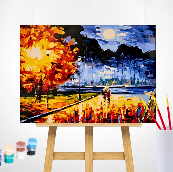 Set pictura pe numere, cu sasiu, Senzatie de toamna, 40x50 cm | Picturi pe numere | dego.ro 1