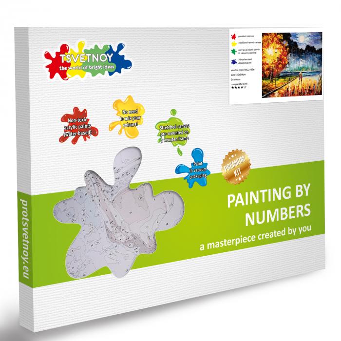 Set pictura pe numere, cu sasiu, Senzatie de toamna, 40x50 cm | Picturi pe numere | dego.ro 6