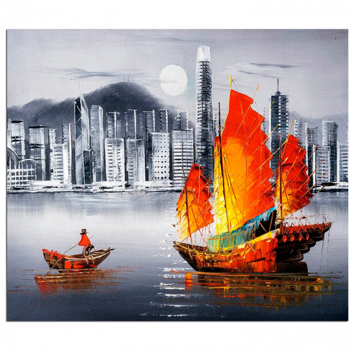 Set pictura pe numere, cu sasiu, Hong Kong by Night, 40x50 cm 1