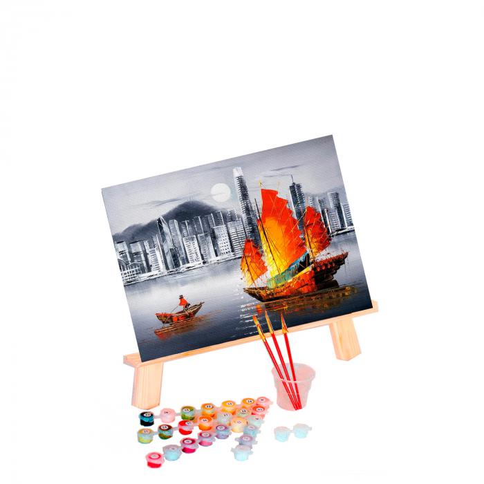 Set pictura pe numere, cu sasiu, Hong Kong by Night, 40x50 cm 0