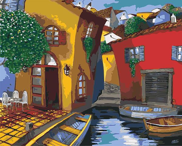 Set pictura pe numere, cu sasiu, Strazi in Venetia, 40x50 0