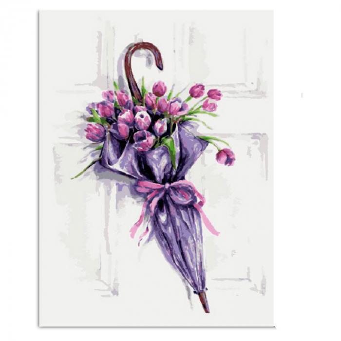 Set pictura pe numere, cu sasiu, Umbrela cu Flori, 30x40 cm 2