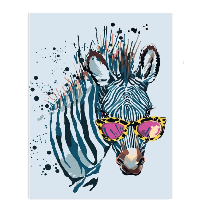 Pictura pe numere, cu sasiu, Zebra cu ochelari [0]