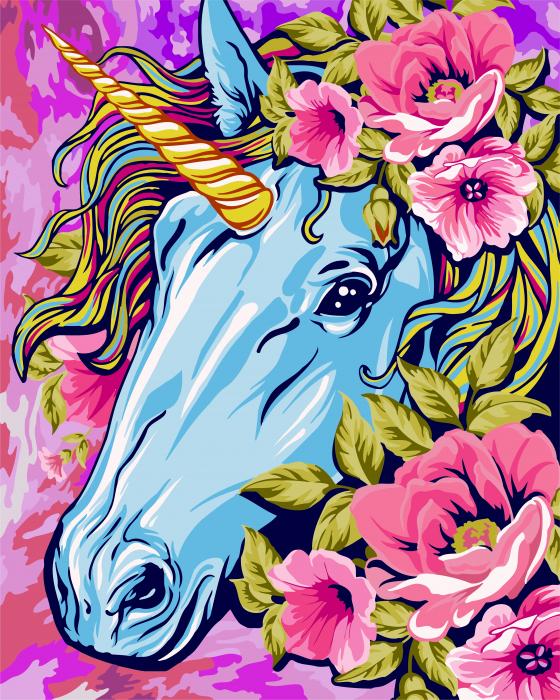 Pictura pe numere, Unicornul din poveste, 40x50 cm [0]