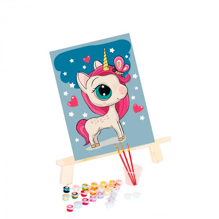 Pictura pe numere, cu sasiu, Unicornul magic 20x30cm 1