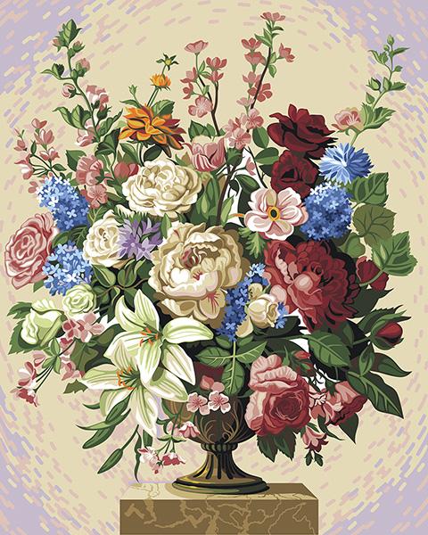 Set pictura pe numere, cu sasiu, Varietate de flori 0
