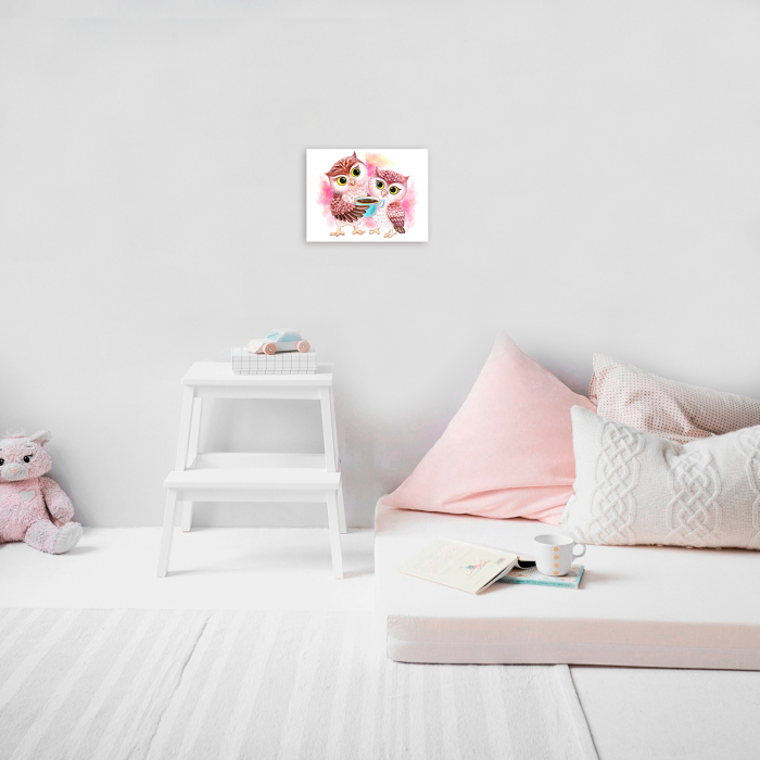 Set pictura pe numere, cu sasiu, Cute Owls, 30x40 cm 2