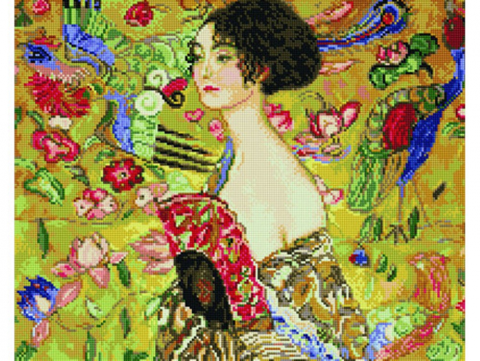Goblen cu diamante, Doamna cu Evantai - Klimt, 40x50 cm [0]