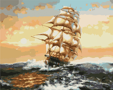 Set pictura pe numere, cu sasiu, Nava 40x50 cm [0]