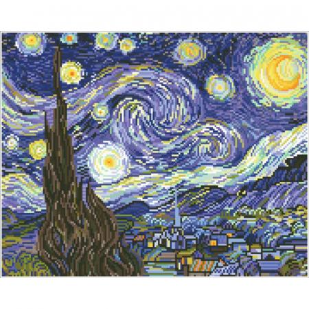 Tablou cu diamante - Noapte instelata (Van Gogh), 41x51cm, fara sasiu [0]
