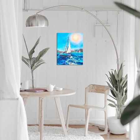 Set goblen cu diamante, cu sasiu, Barca pe mare, 40x50 cm1