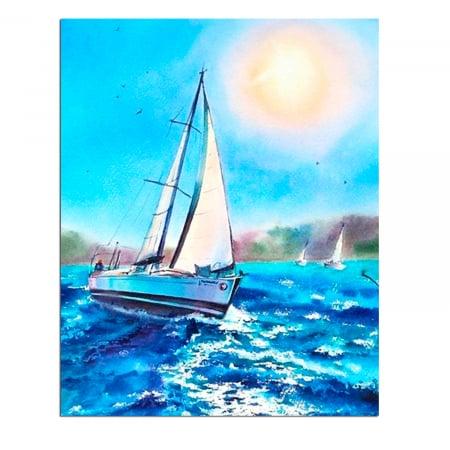 Set goblen cu diamante, cu sasiu, Barca pe mare, 40x50 cm0