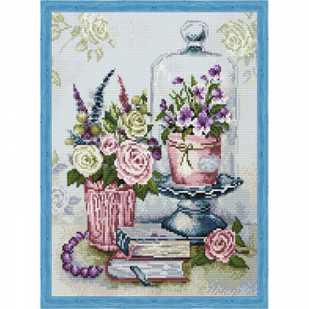 Set goblen cu diamante, cu sasiu, Flori, 40x50 cm0
