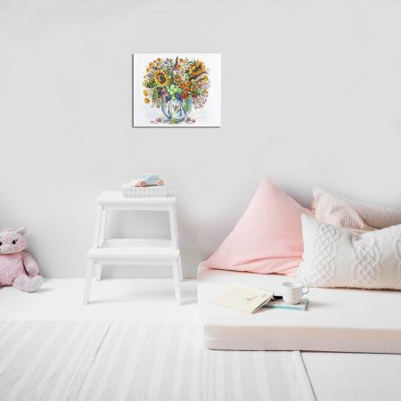 Set goblen cu diamante, cu sasiu, Flori de camp, 40x50 cm1