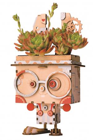 Puzzle 3D din lemn, Ghiveci - iepuras, 66 piese [0]