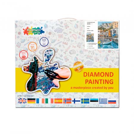 Goblen cu diamante, cu sasiu, Port in Oras, 40x50 cm [3]