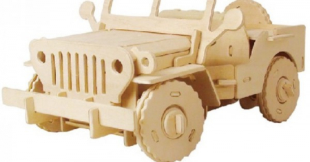 Puzzle mecanic 3D din lemn, cu telecomanda, Jeep, 94 [2]