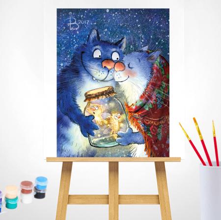 Set pictura pe numere, cu sasiu, Pisici - Dragoste cu Licurici 30x40 cm [1]
