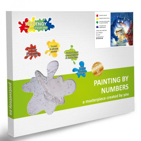 Set pictura pe numere, cu sasiu, Pisici - Dragoste cu Licurici 30x40 cm [5]