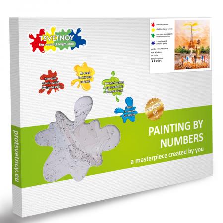 Set pictura pe numere, cu sasiu, Turnul Eiffel 40x50 cm [5]