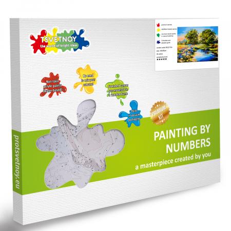 Set pictura pe numere, cu sasiu, Izvor vara, 40x50 cm4