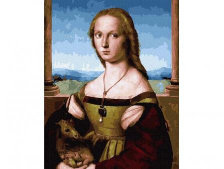 Pictura pe numere, Doamna cu unicorn - Raphael, 40x50 cm [0]