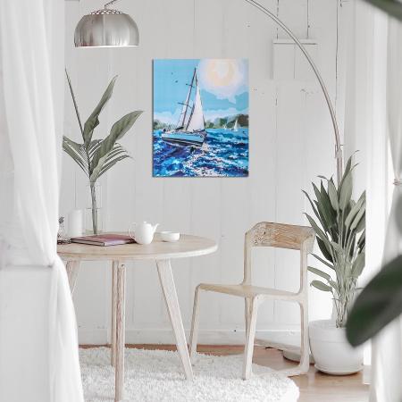 Set pictura pe numere, cu sasiu, Barca pe mare, 40x50 cm2