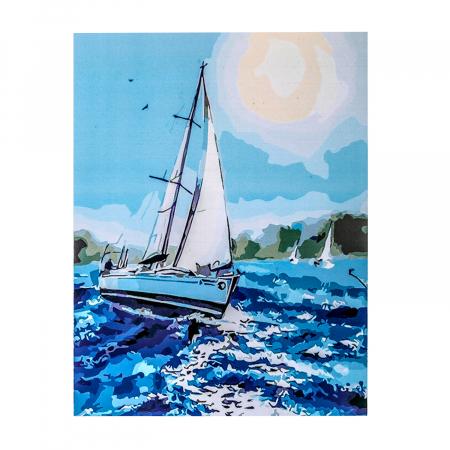 Set pictura pe numere, cu sasiu, Barca pe mare, 40x50 cm0