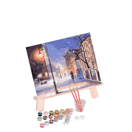 Set pictura pe numere, cu sasiu, Seara de iarna, 40x50 cm0