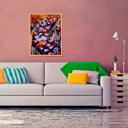 Set pictura pe numere, cu sasiu, Peisaj de toamna, 40x50 cm2