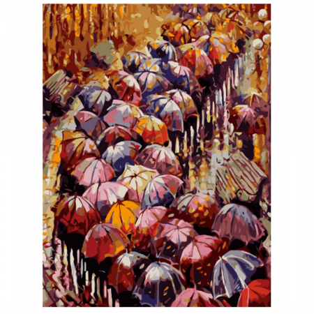 Set pictura pe numere, cu sasiu, Peisaj de toamna, 40x50 cm0