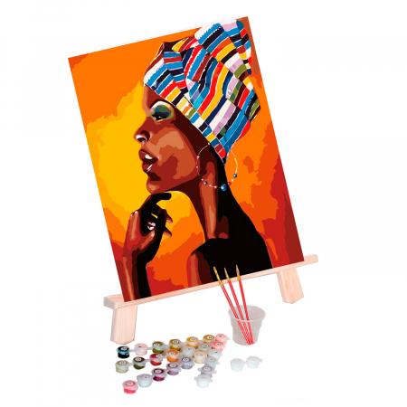Pictura pe Numere, cu sasiu, Portret African [4]