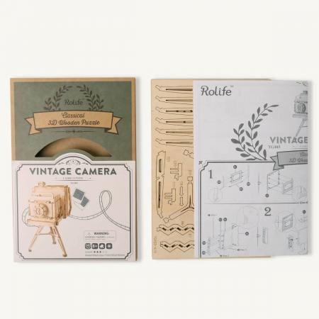 Puzzle 3D Camera Vintage, Lemn, 140 piese2